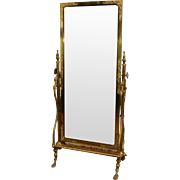 Fine Antique Victorian Brass Regency Style Cheval Mirror on Stand  c1890