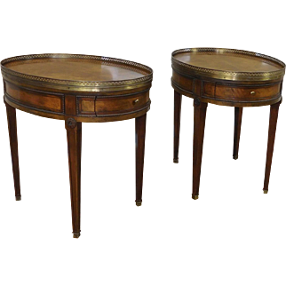 Pair Baker Furniture Oval Walnut Brass Gallery Living Room Occasional Lamp Tables c1980s