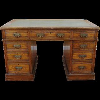 Antique English Chestnut Victorian Leather Top Kneehole Pedestal Desk c1890