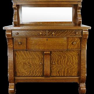 Antique Victorian Tiger Quartered Oak Empire Style Dining Room Sideboard Cabinet w/ Mirror Backsplash c1900