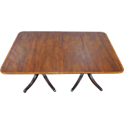 1950s Baker Furniture Banded Mahogany Double Pedestal Dining Room Table w/ 1 Leaf