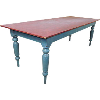 Large Antiqued Shop Made French Stained Painted Pine Country Tavern Table 36 X 87 c1980s