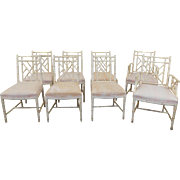 Set Of 8 W & J Sloane Furniture Rattan Chinese Chippendale Painted Dining Room Chairs 1940s