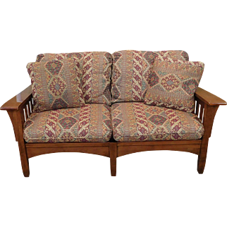 Ethan Allen Woodstock Cherry Mission Arts & Crafts Style Loveseat #24-7682-6