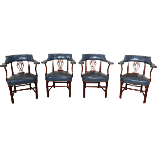 Very Fine Set of 4 Southwood Furniture Mahogany & Blue Leather Chippendale Style Library Armchairs