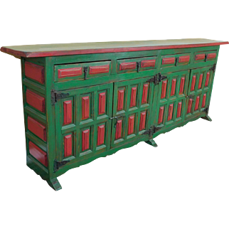 Custom Painted Green & Red Spanish Mexican Raised Paneled Dining Room Credenza 1980s