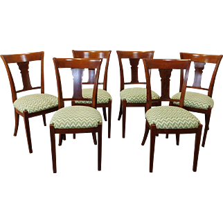 Set 6 French Grange Furniture Cherry Regency Style Dining Room Chairs c1990s