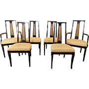 Set 6 Black Lacquered Drexel Heritage Et Cetera 1980s Asian Style Dining Room Chairs