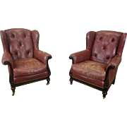 Pair Lillian August Collection Upholstered Tufted Leather Wing Back Armchairs