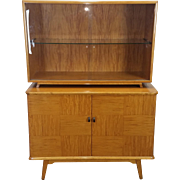 Mid Century Axel Larsson for Bodafors Birch & Mahogany 2 Part Dining Room China Cabinet Sweden c1950