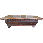 Antique Altered & Assembled 18th Century Carved Walnut Italian 2-Drawer Coffee Table Conversion