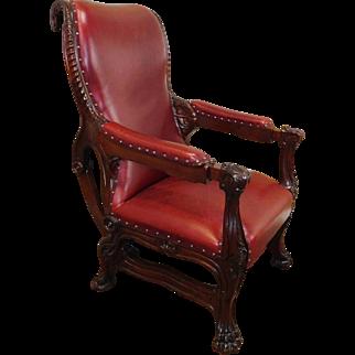 Important Antique American Victorian Renaissance Augustus Eliaers Carved Mahogany Chair c1850
