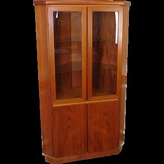 Clean 1970s Teak Danish Modern Rasmus Co Corner Cabinet Cupboard