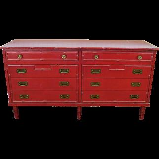 Vintage Ficks Reed Co 1950s Red Painted Rattan 8 Drawer Bedroom Dresser