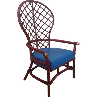 Vintage Ficks Reed Co 1950s Red Painted Rattan Fan Back Armchair