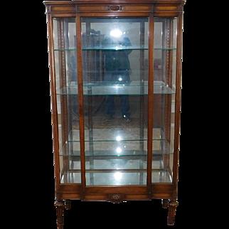 Very Fine Antique French Mahogany Single Door Curio Display Crystal Cabinet c1900