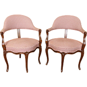 Pair Early 20th Century Carved Walnut Louis XV French Country Corner Armchairs c1920
