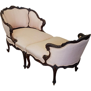 Very Fine Antique 19th Century Carved Mahogany French Louis Duchesse Brisee Chaise Lounge  c1890
