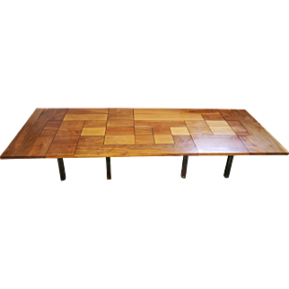 German Architect Designed 1970s Polished Steel & Patchwork Wood Tiled Industrial Conference ~ 12' Dining Table