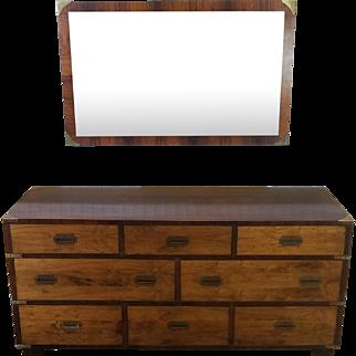 Vintage 1970s John Stuart Rosewood Campaign Style Bedroom Dresser & Mirror