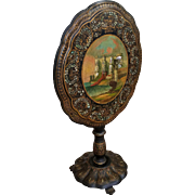 Antique English Victorian Papier Mache Mother Of Pearl Conwy Castle Inlaid Hand Painted Tilt Top Table c1860