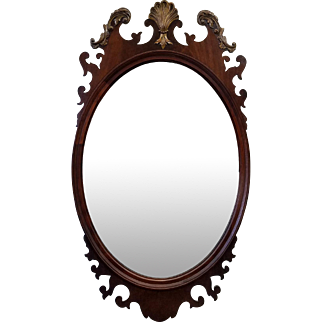 Fine Chippendale Style Rway 1940s Mahogany w/ Gilding Oval Bedroom Mirror 24 X 43