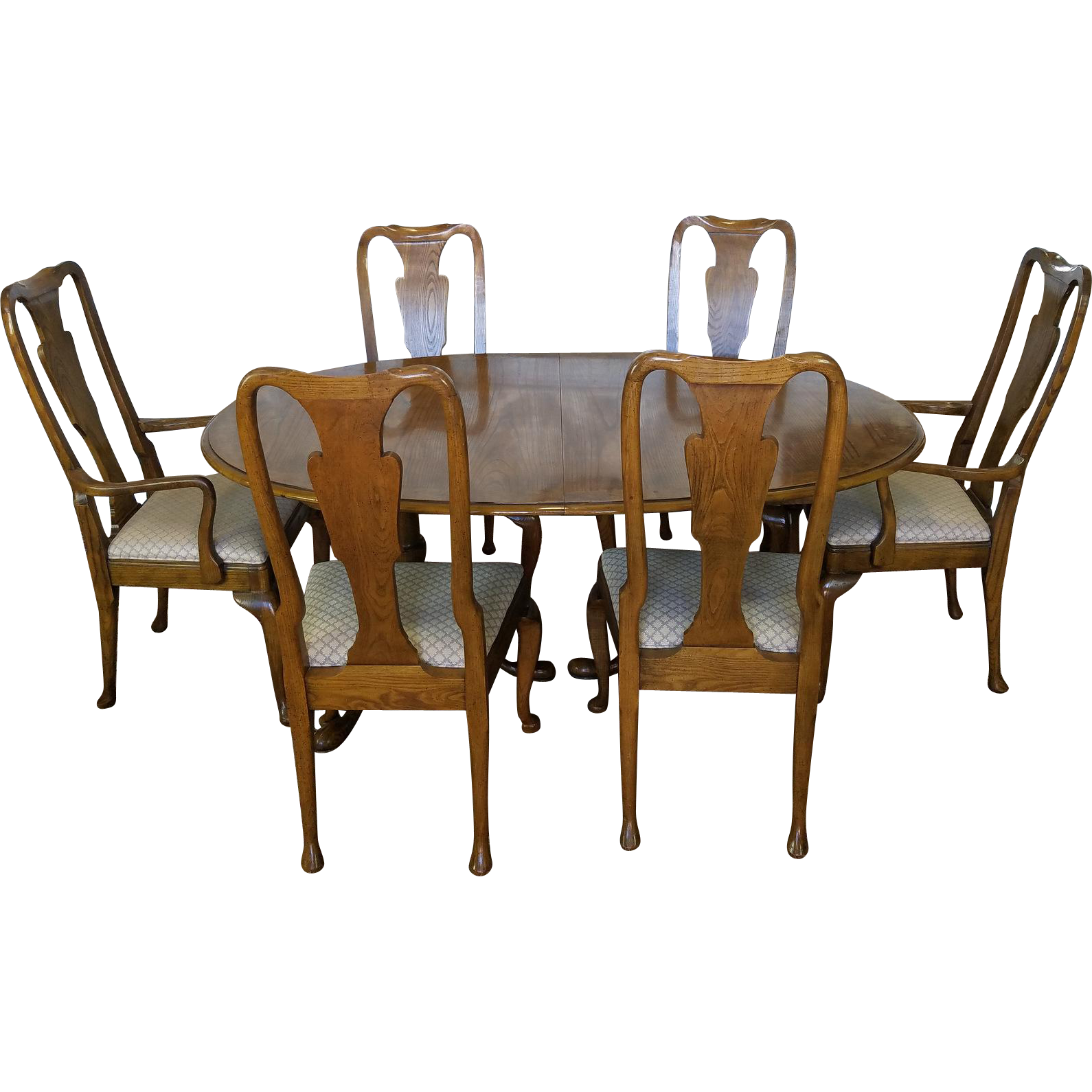 1980s Baker Furniture Company Banded Oak Queen Anne Dining Room