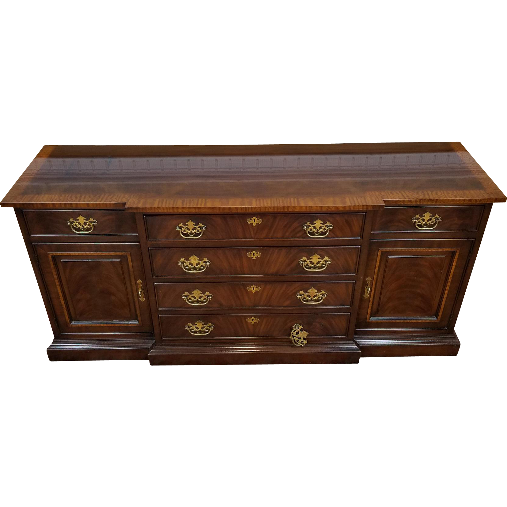 Drexel Heritage Banded Mahogany 18th Century Classics Dining Room Buffet Cabinet 128 134 6