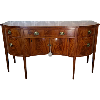 Antique Mahogany Mid 19th Century Federal Style Dining Room Fat Sideboard c1850