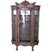 Antique Carved Quartered Oak Victorian Curved Glass Curio Display Cabinet c1890