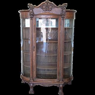 Antique Carved Quartered Oak Victorian Curved Glass Curio Display Cabinet c1890