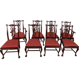 Set Of 8 Mahogany Chippendale Style Department Store Dining Room Chairs c1980s