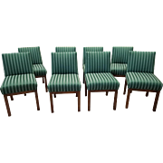 Set of 8 Contemporary 1970s Directional Contract Furniture Green Striped Upholstered Dining Room Chairs