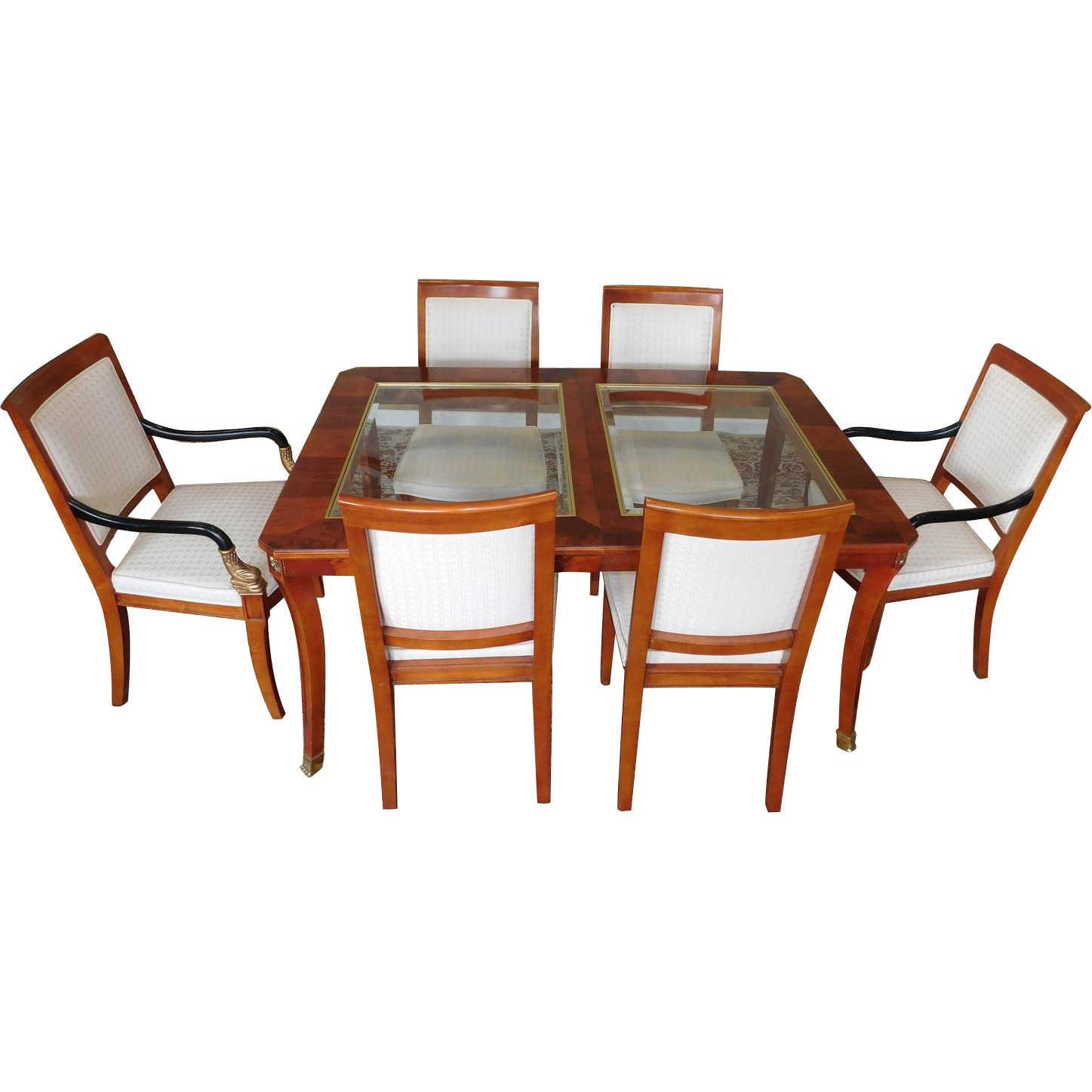 Century Furniture Biedermeier Style Glass Top Walnut Dining Room Table W/ 6  Chairs 1990s