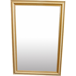 Very Nice Gold Frame Beveled Hanging Wall Mirror 30 X 44 1/2
