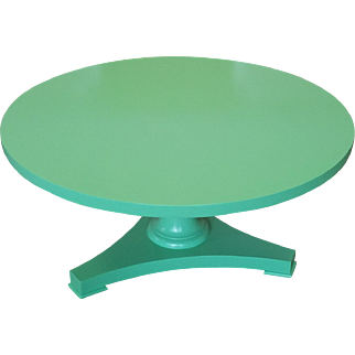 """Lacquered Painted Green Baker Furniture Pedestal Coffee Cocktail Table 38"""" Diameter"""