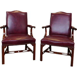 Pair Mahogany Statesville Chair Co Leather Chippendale Armchairs 1990s