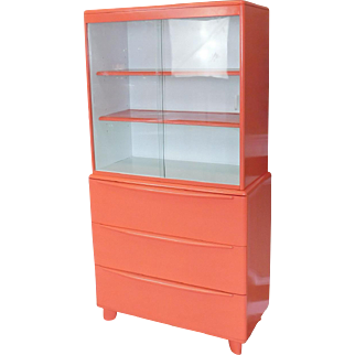 1950s Mid-Century Hot Spice Lacquered Heywood Wakefield Married China Cabinet