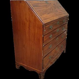 Antique American Federal Hepplewhite Inlaid Mahogany Slant Lid Desk c1810