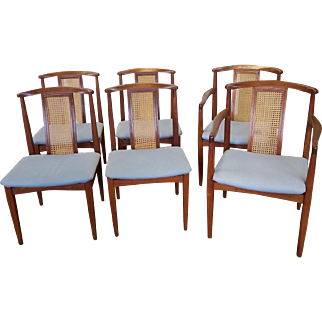 """Set Of 6 1950s  Danish Modern Style Teak Caned Back Dining Room Chairs By """"Dynasty Furniture & Furnishings"""" Of China"""