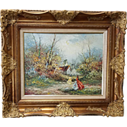 "20th Century Framed Oil On Canvas Painting ""Prominad"" sgnd Marie Charlot"