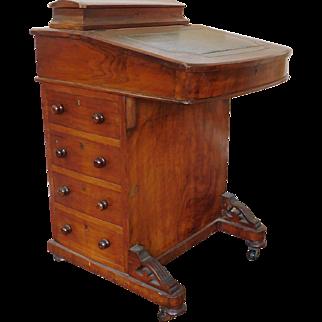 Antique 19th Century Victorian Inlaid Walnut Captains Davenport Slant Desk c1880