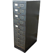 1930s Industrial Shaw Walker Steel Dual 9 Drawer Index Card Sized File Cabinet