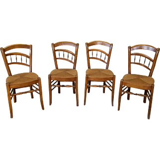 Set 4 Very Unusual Form 1950s French Country Caned Seated Dining Room Chairs