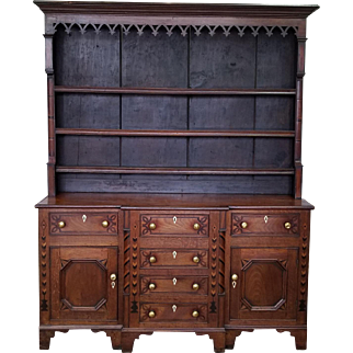 Antique 19th Century Oak Inlaid Welsh ~ Jacobean Style Dining Room Hallway Cabinet Cupboard Hutch c1880