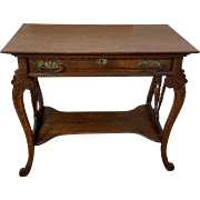 Very Nice Antique Victorian Era Quartered Single Drawer Oak Writing Table c1900