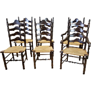 Set 6 Dark Pine Rush Seated Country Style Ladder Back Dining Chairs c1970s