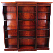 1990s Reproduction Inlaid Banded Mahogany English Georgian Style 3 Part Bookcase