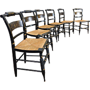 Set of 6 Hitchcock Harvest Pattern Slat Back Dining Room Rush Seat Side Chairs c1970s