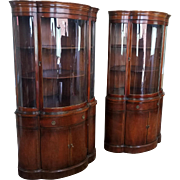 Beautiful Pair Of Unusual Mahogany Bow Front Corner Cabinet Cupboards c1950s